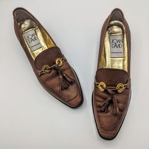 Vintage Joan & David Leather Loafer Heel Tassels